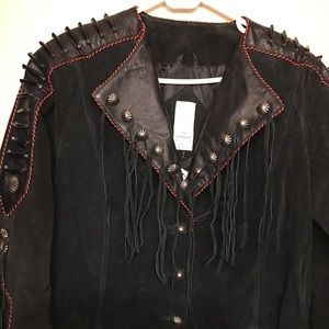 Black suede beaded and fringed 3/4 length jacket.